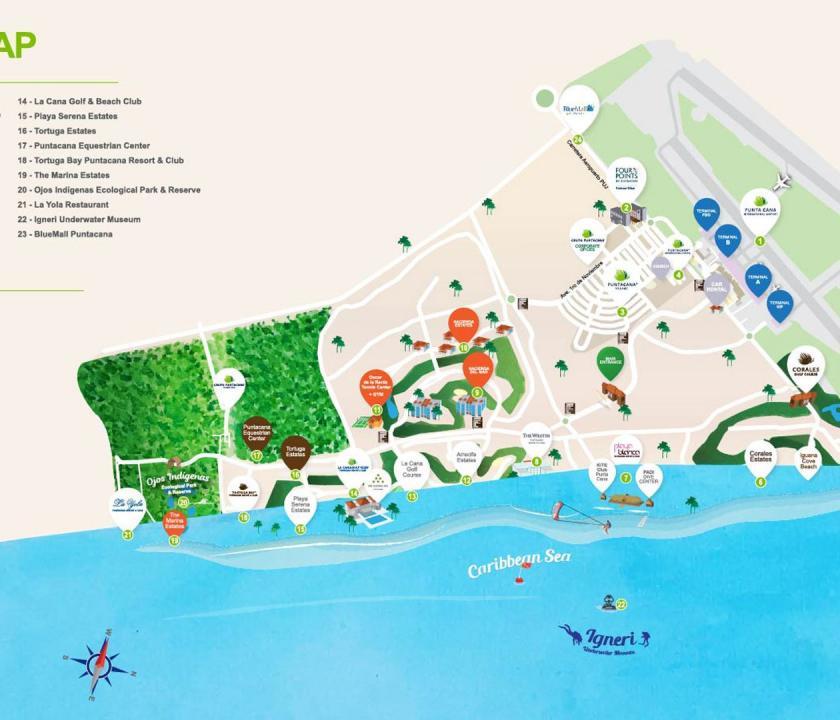 Tortuga Bay Puntacana Resort & Club - térkép (Dominikai utazások)