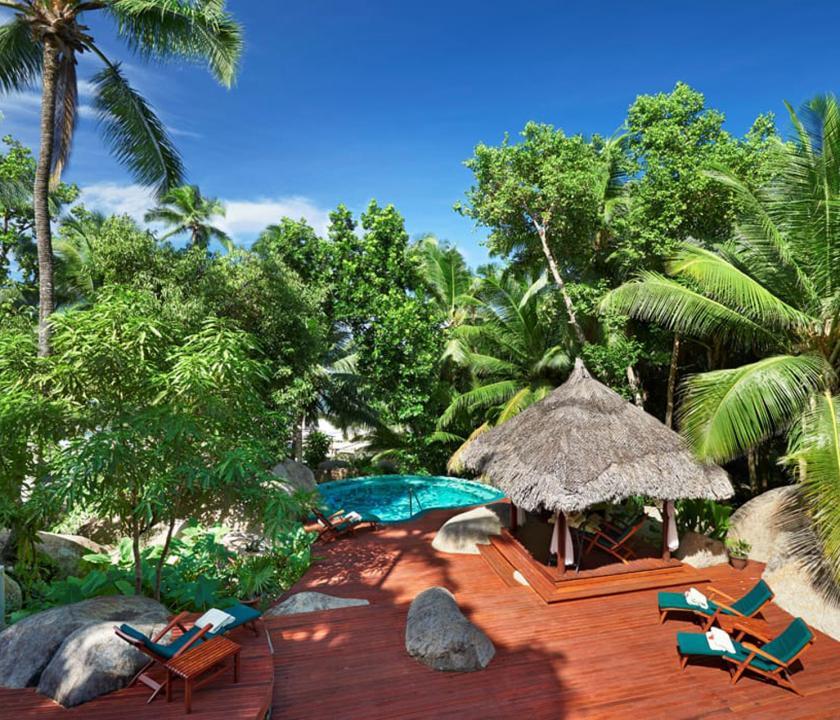 Hilton Seychelles Labriz Resort & Spa - spa terasz (Seychelle szigeteki utazások)