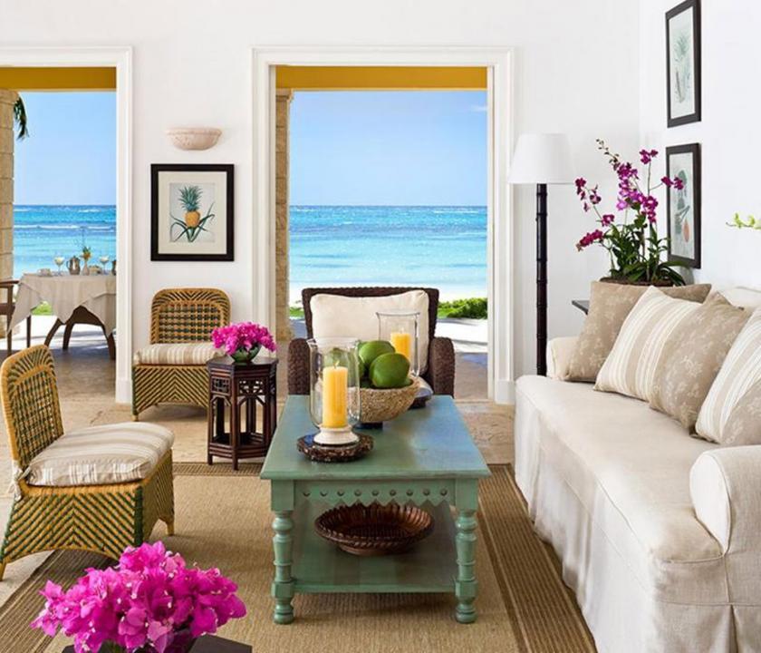 Tortuga Bay Puntacana Resort & Club / 3Bedroom Deluxe villa (ocean front) - nappali (Dominikai utazások)