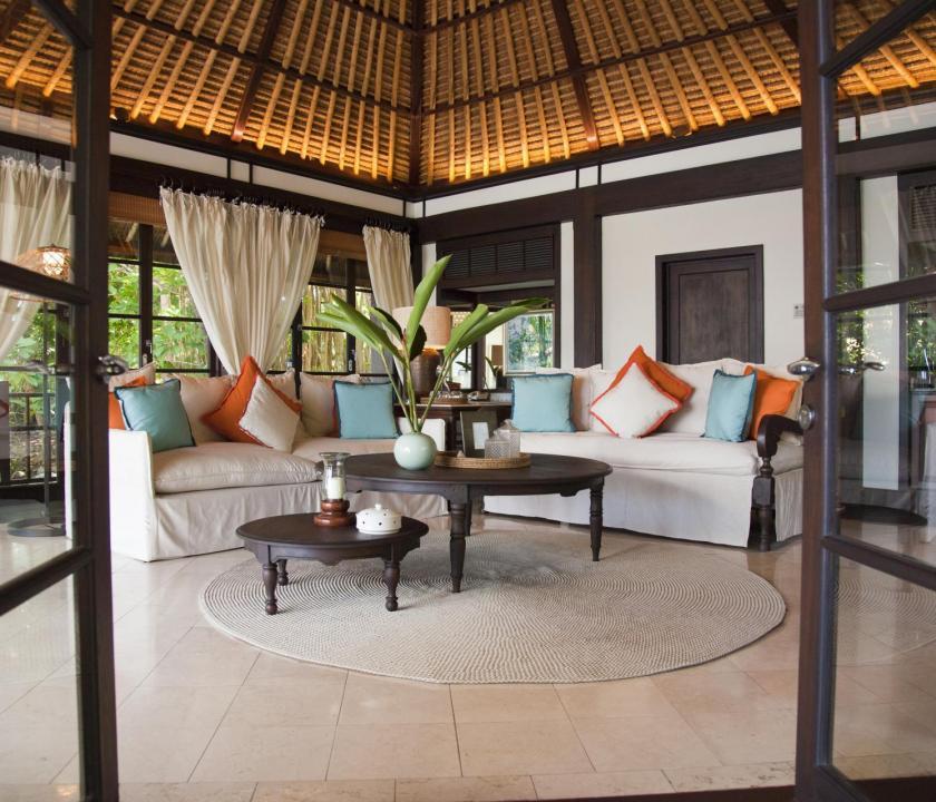 Fregate Island Private / Private Pool Twin Residence - nappali (Seychelle szigeteki utazások)