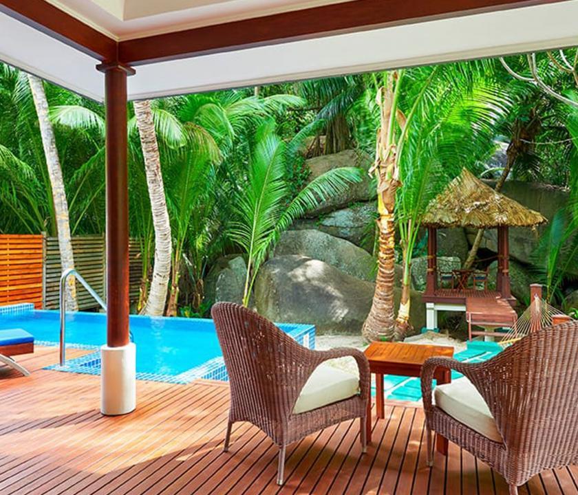 Hilton Seychelles Labriz Resort & Spa / King Sanctuary Pool Villa - terasz és privát medence (Seychelle szigeteki utazások)