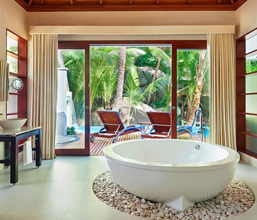 Hilton Seychelles Labriz Resort & Spa / King Sanctuary Pool Villa - fürdőszoba (Seychelle szigeteki utazások)