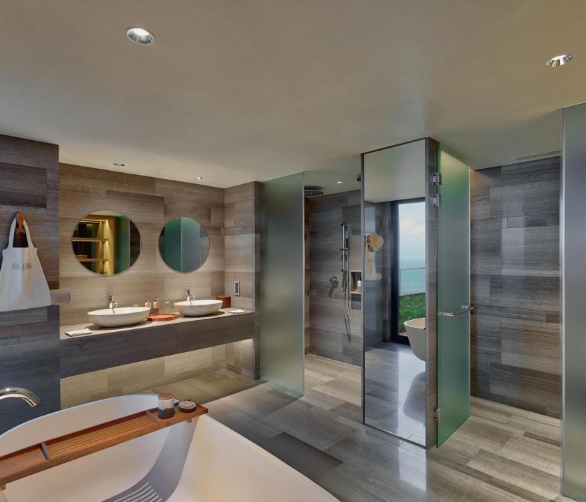 Six Senses Zil Pasyon Hotel / Four bedroom residence - fürdőszoba (Seychelle szigeteki utazások)