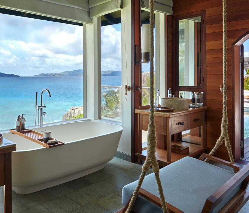 Six Senses Zil Pasyon Hotel / Hideaway pool villa - fürdőszoba (Seychelle szigeteki utazások)