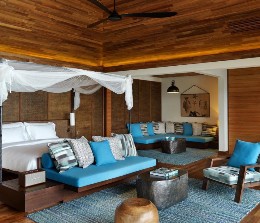 Six Senses Zil Pasyon Hotel / Pasyon pool villa - hálószoba (Seychelle szigeteki utazások)