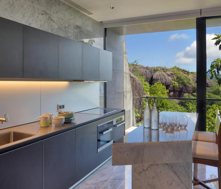 Six Senses Zil Pasyon Hotel / Three bedroom residence - konyha (Seychelle szigeteki utazások)
