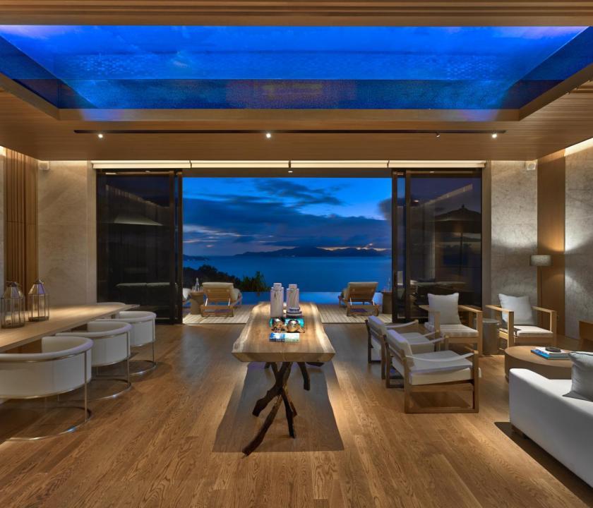 Six Senses Zil Pasyon Hotel / Three bedroom residence - nappali (Seychelle szigeteki utazások)