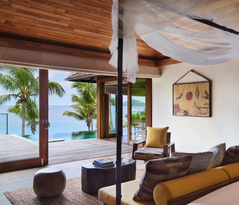 Six Senses Zil Pasyon Hotel / Two bedroom pool villa - hálószoba (Seychelle szigeteki utazások)